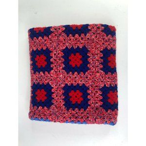 Hand Made Knit Crochet Afghan Lap Blanket Wool Throw Squares 53x31